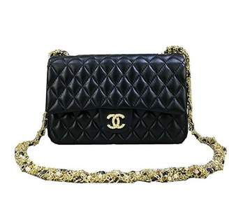 Chanel bag women black leather handbag shoulder bag chain