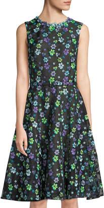 Oscar de la Renta Floral Sleeveless Dress w/ Belted Waist