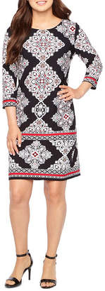 Studio 1 3/4 Sleeve Puff Damask Print Shift Dress