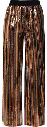 Robert Rodriguez Striped Sequined Woven Wide-leg Pants