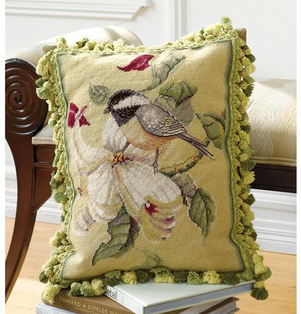 Bird on Magnolia Branch Pillow