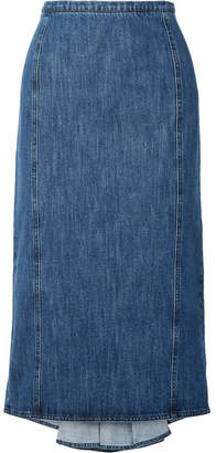 Michael Kors Pleated Denim Midi Skirt - Blue