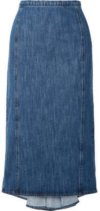 Michael Kors Collection - Pleated Denim Midi Skirt - Blue