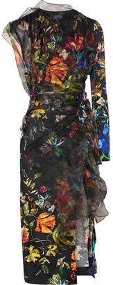 Thierry Mugler Layered Floral-print Satin And Organza Midi Dress - Black