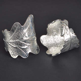 Glover and Smith Oak Leaf Napkin Rings Pair, House Warming Gifts