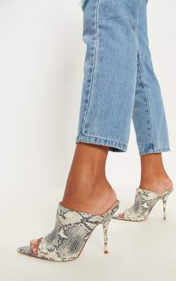 PrettyLittleThing Grey Snake Clear Extreme Point Mule