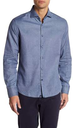 Stone Rose Long Sleeve Denim Blue Woven Dress Shirt
