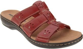 Clarks Leather Triple Strap Slides - Leisa Spring
