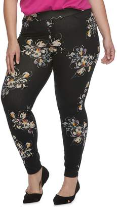 Utopia By Hue Plus Size Utopia by HUE Fused Floral Print Jean Leggings