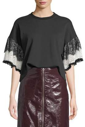 McQ Lace Tiered-Sleeve T-Shirt