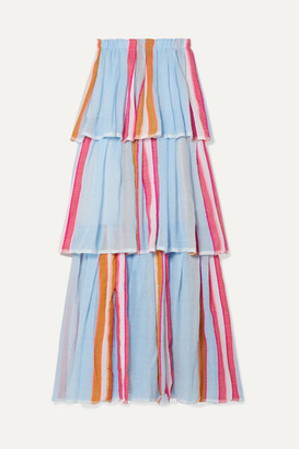 Lemlem Net Sustain Eskedar Tiered Striped Cotton-blend Gauze Maxi Dress - Light blue
