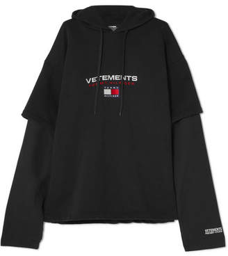 Vetements Tommy Hilfiger Layered Embroidered Cotton-jersey Hooded Top - Black