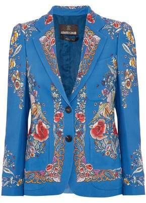 Roberto Cavalli Floral-Print Crepe Jacket