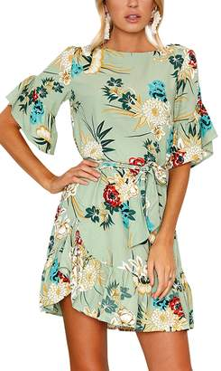 Assivia Women's Summer Boho Floral Pattern Ruffle Hem Chiffon Dress With Belt (, S)