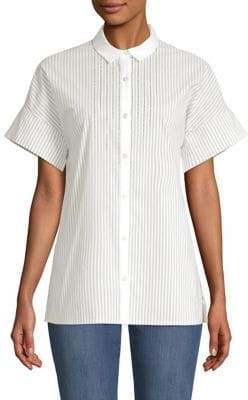 St. John Striped Short-Sleeve Shirt