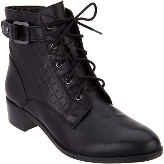 Isaac Mizrahi Live! Leather Lace Up Ankle Boots with Quilting Detail