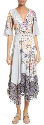Women's Tracy Reese Silk Mixed Media Midi Dress $398 thestylecure.com