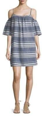 Saks Fifth Avenue Striped Cold-Shoulder Cotton Dress