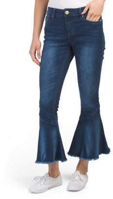 Petite Ruffle Hem Flare Jeans