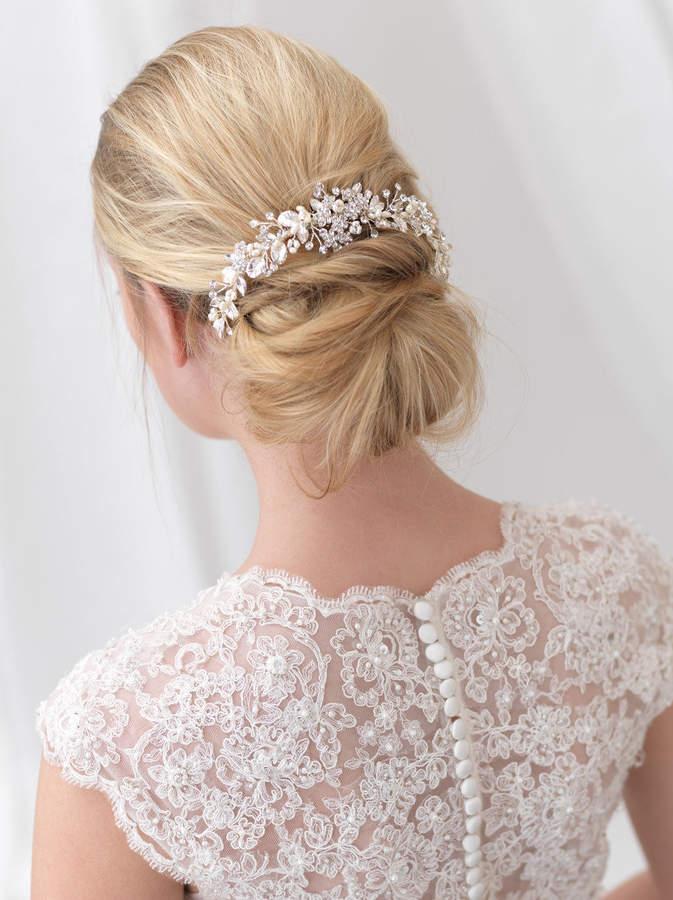 Etsy Floral Bridal Backpiece, Floral Bridal Hair Comb, Pearl Bridal Hair Comb, Pearl Hair Comb, Pearl Com