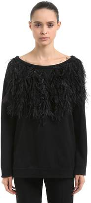 N°21 Oversized Cotton Sweatshirt W/ Feathers