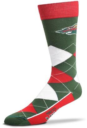 For Bare Feet Adult Minnesota Wild Argyle Line Up Crew Socks