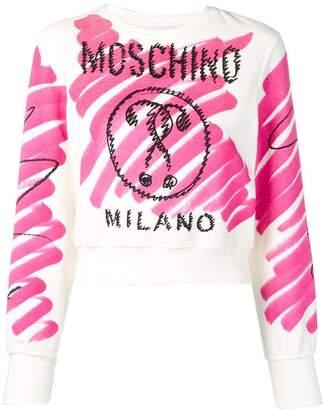 Moschino cropped sketch print sweatshirt