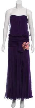 J. Mendel Silk Strapless Evening Dress