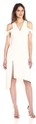Halston Women's Sleeveless V Neck Asymmetrical Skirt Dress Slit Shoulder