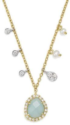 """Meira T 14K White & Yellow Gold Milky Aquamarine, Diamond & Dangling Cultured Freshwater Seed Pearl Necklace, 16"""""""