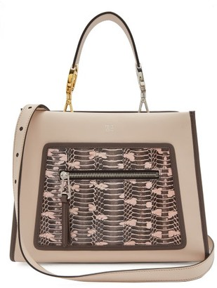 Fendi Runaway Watersnake And Leather Bag - Womens - Light Pink