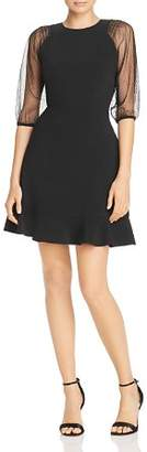 Laundry by Shelli Segal Mesh Sleeve Fit-and-Flare Dress