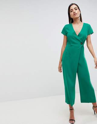 Asos DESIGN Wrap Jumpsuit With Horn Button And Culotte Leg