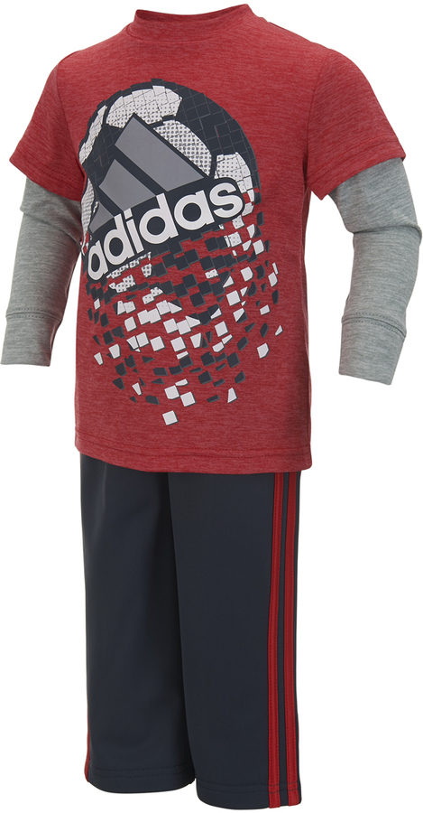 Bright Red Game Shattering Layered Tee & Pants - Infant