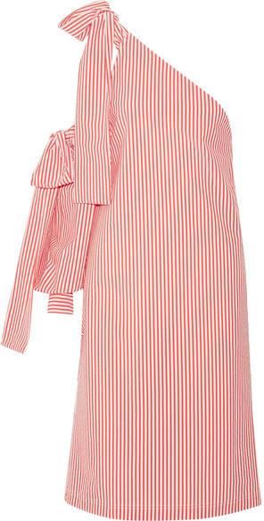 MSGM - Bow-embellished One-shoulder Striped Seersucker Dress - Red