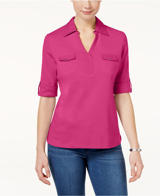 Karen Scott Cotton Utility Polo Top, Only at Macy's $29.50 thestylecure.com