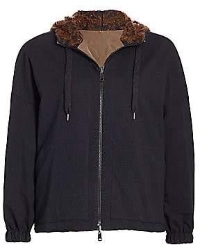 Brunello Cucinelli Women's Reversible Taffeta Pailette-Lined Zip Front Bomber Jacket