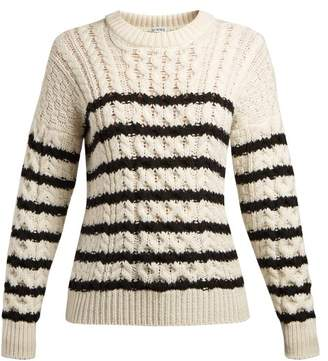 Loewe - Striped Cable Knit Sweater - Womens - White Black