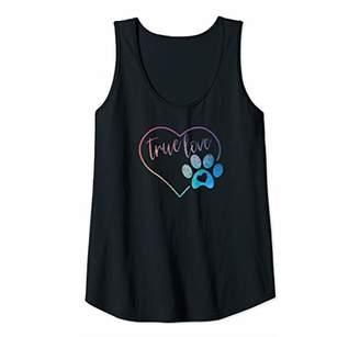 Womens Paw Print Pawprint Heart Animal Lover Love Pet Dog Cat Mom Tank Top