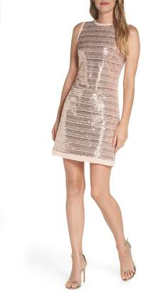 Vince Camuto Sequin Mesh Sheath Dress