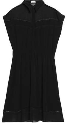 Claudie Pierlot Chiffon-Paneled Crepe Shirt Dress