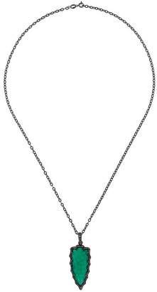 Gemco emerald and diamond dagger pendant necklace