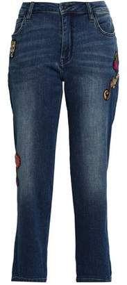 Kate Spade Appliqued Cropped Mid-rise Straight-leg Jeans