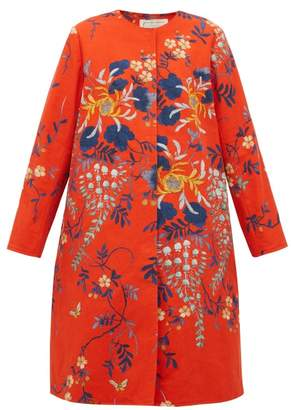 By Walid Tanita Floral Print Cotton Coat - Womens - Red Multi
