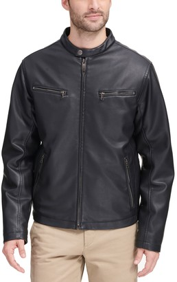 Dockers Leather Motorcycle Racer Jacket - Men