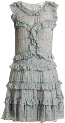 Rebecca Taylor Floral-print ruffle-trimmed silk-chiffon dress