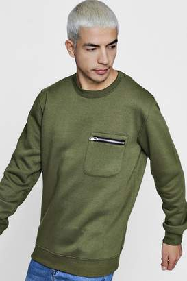 boohoo Zip Pocket Crew Neck Sweater