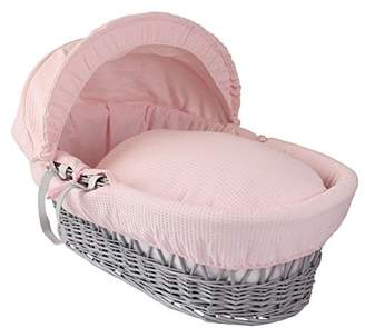 Clair De Lune Waffle Grey Wicker Moses Basket - Pink