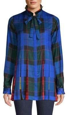 Escada Sport Pleated Plaid Blouse