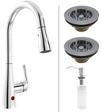 Keeney Manufacturing Company Premium Single Handle Touchless Kitchen Faucet with Garbage Disposal Stopper, Strainer and Soap Dispenser